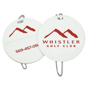 Round Golf Bag Tag w/ Clear Loop Strap