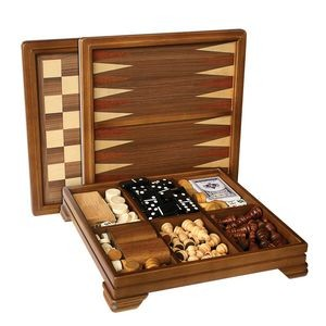 Walnut 7-Games-in-1 Combination Game Set